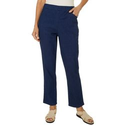 Coral Bay Womens Denim Studded Lattice Capris