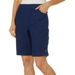 Womens Denim Grommet Hem Pull On Shorts