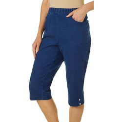 Womens Denim Snap Hem Capris