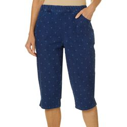 Coral Bay Womens Denim Anchor Print Capris