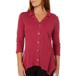 Coral Bay By Teez-Her Womens Solid Faux Button Down Top