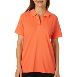 Coral Bay Womens Solid Short Sleeve Polo Shirt