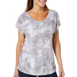 Coral Bay Womens Mixed Animal Print Burnout Top