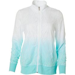 Coral Bay Womens Tie Dye Palm Burnout Jacket