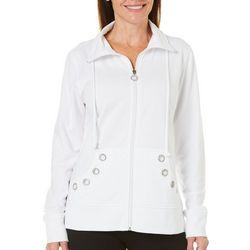Womens Tie Solid Embellished Grommet Jacket