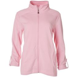 Coral Bay Womens Solid Adjustable Sleeves Zip Up Jacket