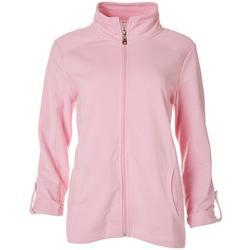Coral Bay Womens Solid Adjustable Sleeves Zip Up Jacket