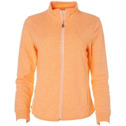 Coral Bay Womens Solid Terry Zip Up Jacket
