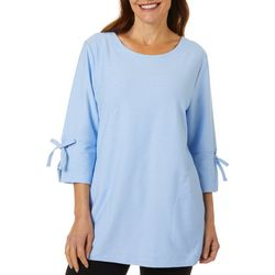 Coral Bay Energy Womens Solid Tie Sleeve Round Neck Top