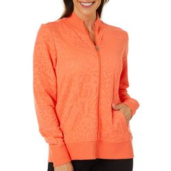 Coral Bay Energy Womens Burnout Animal Print Zip Up Jacket