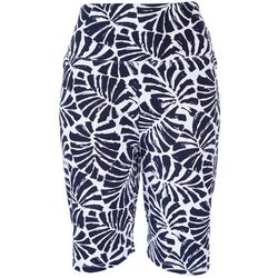 Teez-Her Womens Palm Leaves Pull On Bermuda Shorts