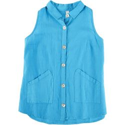 Teez-Her Womens Pocketed Button Down Top