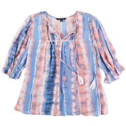 Womens Printed Peasant Top With Puff Sleeve