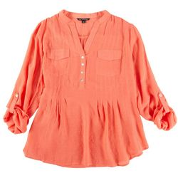 Zac & Rachel Womens 3/4 Sleeve Button Down Top