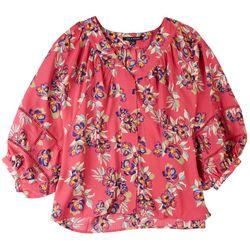 Zac & Rachel Womens Floral Crochet Sleeve Shirt