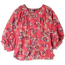 Womens Floral Crochet Sleeve Shirt