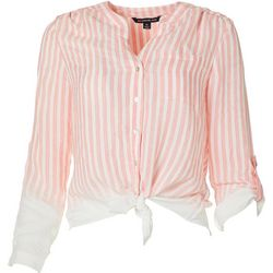 Zac & Rachel Womens Stripe Tie Front Button Up Pocket Top