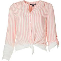 Womens Stripe Tie Front Button Up Pocket Top