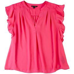 Zac & Rachel Womens Vibrant Pink Ruffled Sleeves Top