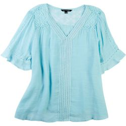 Zac & Rachel Womens Solid Crochet Slub Top