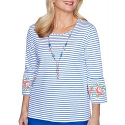 Alfred Dunner Womens Embroidery Flared Sleeve Top