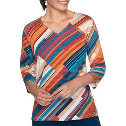 Alfred Dunner Womens Diagonal Stripe Textured Top
