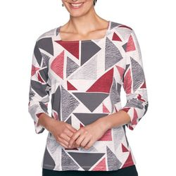 Alfred Dunner Womens Triangle Print Textured Top