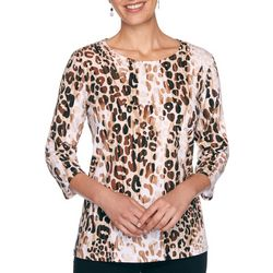 Alfred Dunner Womens Leopard Print Three Quarter Sleeve Top