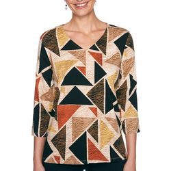 Alfred Dunner Womens Triangle Print Texture Top