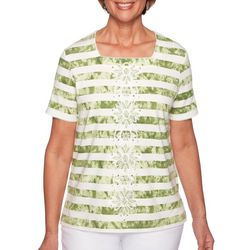 Alfred Dunner Womens Sante Embroidered Top