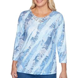 Alfred Dunner Womens Pearls of Wisdom Lace Print