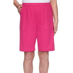 Alfred Dunner Womens Laguna Beach Gauze Button Hem Shorts