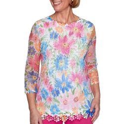 Alfred Dunner Womens Laguna Beach Floral Mesh Overlay Top