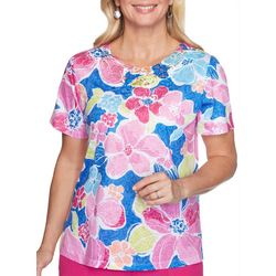 Alfred Dunner Womens Laguna Beach Flower Lace Yoke Top
