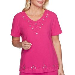 Alfred Dunner Womens Laguna Beach Gauze Embroidered Top