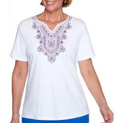 Alfred Dunner Womens Laguna Beach Embroidered Split Neck Top