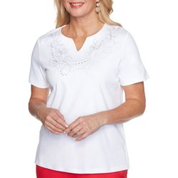 Alfred Dunner Womens Robe Embroidered Top