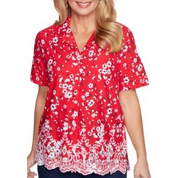 Alfred Dunner Womens Floral Eyelet Collared Top