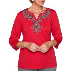 Alfred Dunner Womens Knightsbridge Embroidered Yoke Top