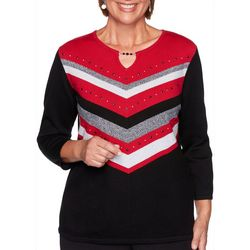 Alfred Dunner Embellished Chevron Keyhole Sweater