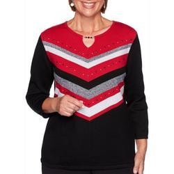 Embellished Chevron Keyhole Sweater