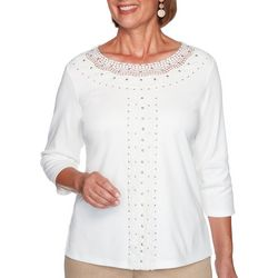 Alfred Dunner Womens Glacier Lake Center Crochet Top