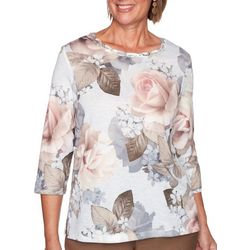 Alfred Dunner Womens Glacier Lake Floral Knit Top