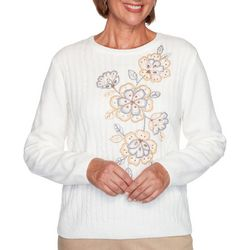 Alfred Dunner Womens Glacier Lake Flower Chenille Sweater