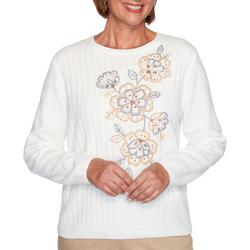 Womens Glacier Lake Flower Chenille Sweater
