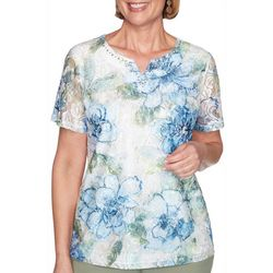 Alfred Dunner Womens Palo Alto Textured Lace Floral Top