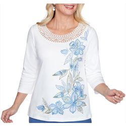 Alfred Dunner Womens Palo Alto Leaf Floral Embroidered Top