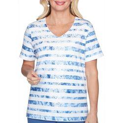 Alfred Dunner Womens Palo Alto Tie Dye Stripe Top