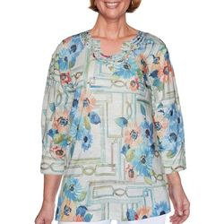 Alfred Dunner Womens Palo Alto Windowpane Floral Top