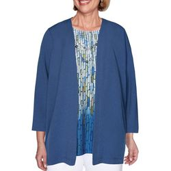 Alfred Dunner Plus Palo Alto Crinkle Woven Duet Top